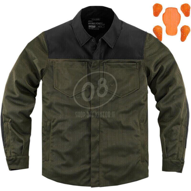 Camicia moto Icon Upstate verde scuro/nero - Foto 10