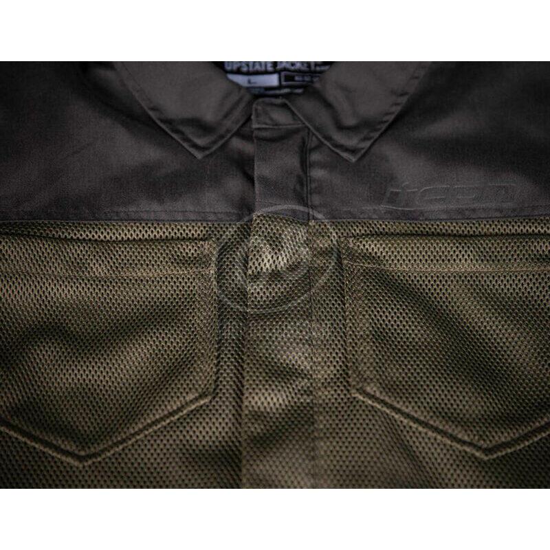 Camicia moto Icon Upstate verde scuro/nero - Foto 9