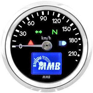 Contachilometri elettronico MMB Basic corpo cromo fondo nero