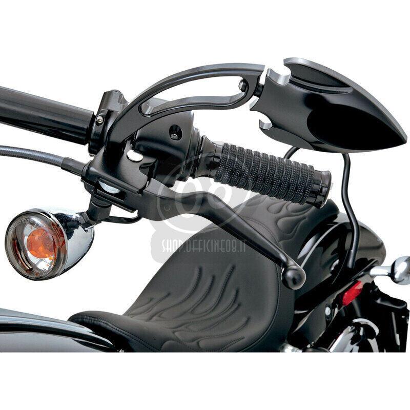 Set leve comando manubrio freno e frizione per Harley-Davidson Sportster '96-'03 Drag Specialties Wide Blade nero - Foto 3