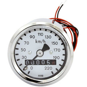 Mechanical speedometer MMB Sport mini K=1 M12 body chrome dial white