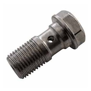 Bullone forato M10x1 singolo testa piatta acciaio grigio