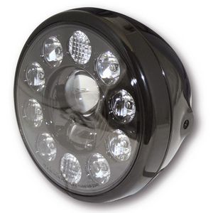 Full led headlight 7'' Highsider Reno black polish