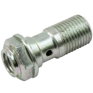 Bullone forato M10x1 singolo acciaio grigio con alloggio spurgo