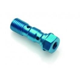 Bullone forato M10x1 doppio con alloggio spurgo alluminio blu