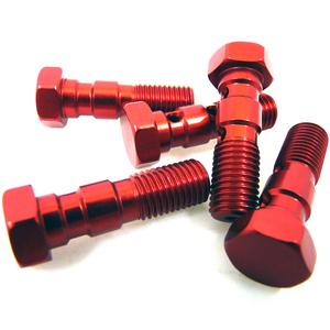 Bullone forato M10x1.25 doppio testa piatta alluminio rosso