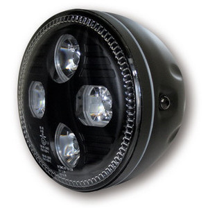 Full led headlight 5.3/4'' Highsider Cafe Racer black matt