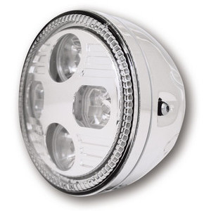 Full led headlight 5.3/4'' Highsider Cafe Racer chrome