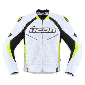 Giacca moto Icon Hypersport2 Prime bianco/nero/giallo