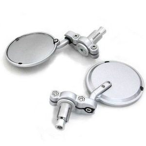 Rearview mirror bar-end Cafe Racer grey pair