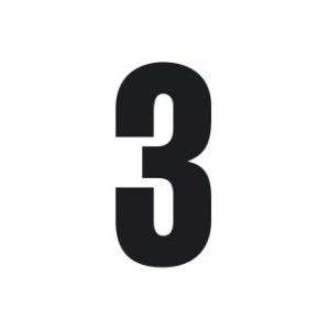 Set n.3 numeri adesivi grandi 3 nero