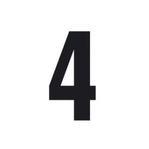 Set n.3 numeri adesivi grandi 4 nero