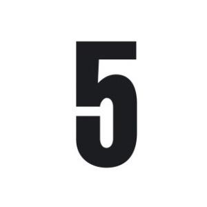 Set n.3 numeri adesivi grandi 5 nero