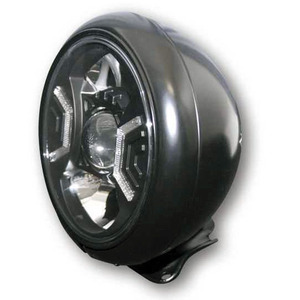 Full led headlight 7'' Highsider Modern low mounting black polish