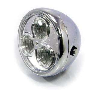 Full led headlight 6'' Cafe Racer chrome