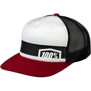 Cappellino 100% Cornerstone Trucker bianco/rosso/nero