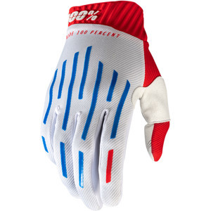 Guanti moto 100% Ridefit bianco/blu/rosso