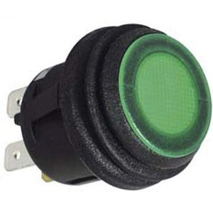 Interruttore a pressione on-off 20mm illuminato verde