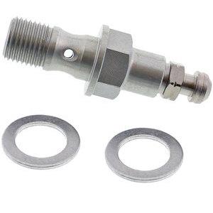 Bullone forato M10x1,25 singolo alluminio grigio con spurgo grigio