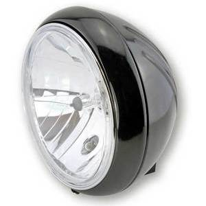 Halogen headlight 7'' Yuma black polish lens clear