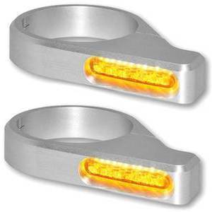 Led fork winkers 54-56mm Classic grey pair