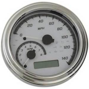 Electronic multifunction gauge Harley-Davidson Dyna '04-'10 Dakota Digital body chrome dial white