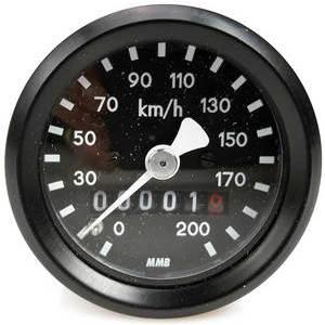 Contachilometri meccanico MMB Sport mini K=1.4 M12 corpo nero fondo nero