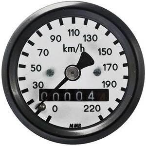 Contachilometri meccanico per Harley-Davidson attacco ruota MMB Sport mini corpo nero fondo bianco