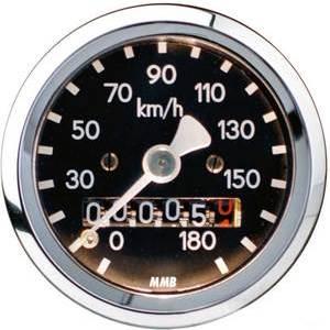Mechanical speedometer Harley-Davidson transmission mounting MMB Sport mini body chromed dial black