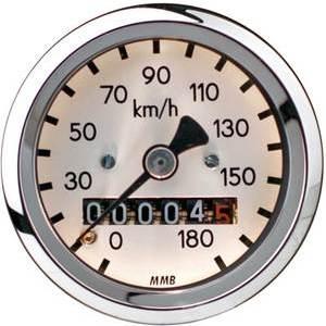 Mechanical speedometer Harley-Davidson wheel mounting MMB Sport mini body chrome dial white