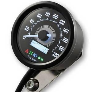 Electronic speedometer Daytona60 control lights 200Km/h black