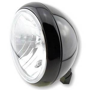 Halogen headlight 7'' Yuma2 black polish lens clear