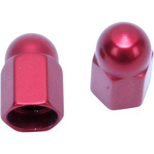 Tire valve stem caps Barnett alloy red pair