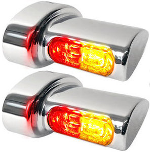 Led winkers Harley-Davidson -'17 taillight combo Heinz Bikes Winglets Micro chrome smoked pair