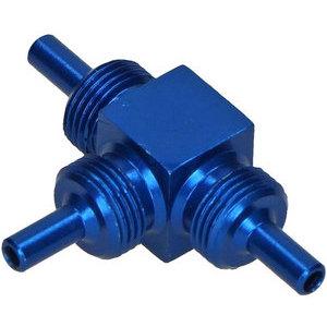 Raccordo tubi freno aeronautici maschio 3 vie M10x1 alluminio blu