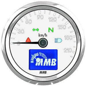 Contachilometri elettronico MMB Basic corpo cromo fondo bianco