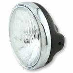 Halogen headlight 7'' Lucas pattern lens black matt rim chrome